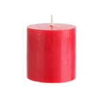"Mega Candles - 3"" x 3"" Unscented Round Pillar Candle - Red"