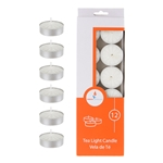 Mega Candles - 12 pcs Unscented Tea Light Candle - White