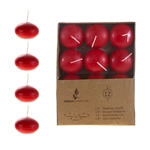 "Mega Candles - 12 pcs 1.5"" Unscented Floating Disc Candle in Brown Box - Red"