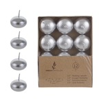 "Mega Candles - 12 pcs 1.5"" Unscented Floating Disc Candle in Brown Box - Silver"