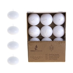 "Mega Candles - 12 pcs 1.5"" Unscented Floating Disc Candle in Brown Box - White"