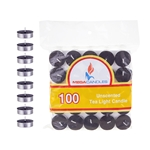 Mega Candles - 100 pcs Unscented Tea Light Candle in Bag - Black