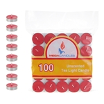 Mega Candles -100 pcs Unscented Tea Light Candle in Bag - Red
