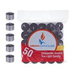 50 pcs Unscented Jumbo Tea Light Candle in Bag - Black
