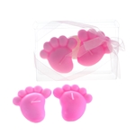 Baby Footprints Floating Candle in Clear Box - Pink