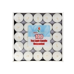Mega Candles - 100 pcs Unscented Tea Light Candle in Box - White