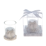 Mega Favors - Pair of Wedding Bells Poly Resin Candle Set in Gift Box - White