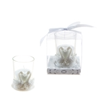 Mega Favors - Pair of Swans Poly Resin Candle Set in Gift Box - White