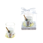 Mega Favors - Champagne Bottle in Ice Bucket Poly Resin Candle Set in Gift Box - White