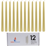 "Mega Candles - 12 pcs 10"" Unscented Taper Candle in White Box - Gold"