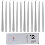 "Mega Candles - 12 pcs 12"" Unscented Taper Candle in White Box - Silver"
