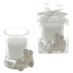 Wedding Couple in a Car Poly Resin Candle Set in Clear Box - White