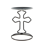 Mega Candles - Religious Cross Metal Candle Holder - Matte Black