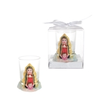 Mega Favors - Baby Guadalupe Poly Resin Candle Set in Gift Box - White