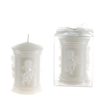 Sculpted Angel Round Pillar Candle in Clear Box - White