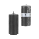 "3"" x 6"" Unscented Domed Top Press Pillar Candle in Shrink Wrap - Dark Gray"