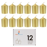 Mega Candles - 12 pcs 15 Hours Unscented Votive Candle in White Box - Gold