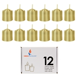 Mega Candles - 12 pcs 8 Hours Unscented Votive Candle in White Box - Gold