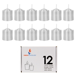 Mega Candles - 12 pcs 8 Hours Unscented Votive Candle in White Box - Silver