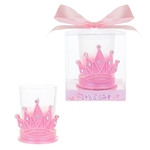 Crown with Rhinestones Poly Resin Candle Set in Gift Box - Pink