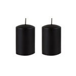 "Azure Candles - 2"" x 3"" Unscented Round Glazed Pillar Candle - Black"