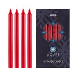"Azure Candles - 12 pcs 10"" Unscented Glazed Straight Taper Candle - Red"