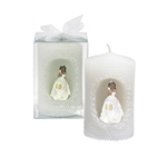 "Mega Candles - 2"" x 4"" Ethnic Sweet 16 Lady Poly Resin Pillar Candle in Clear Box - White"
