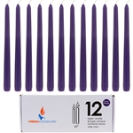 "Mega Candles - 12 pcs 10"" Unscented Taper Candle in White Box - Dark Purple"