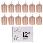 Mega Candles - 12 pcs 15 Hours Unscented Votive Candle in White Box - Rose Gold