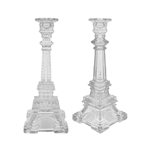 "Mega Candles - 10.5"" Eiffel Tower Taper Glass Candle Holder - Clear"