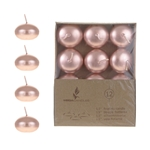 "Mega Candles - 12 pcs 1.5"" Unscented Floating Disc Candle in Brown Box - Rose Gold"