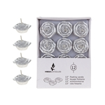 "Mega Candles - 12 pcs 1.5"" Unscented Floating Flower Candle in White Box - Silver"