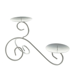 Mega Candles - Two Pillar / Round Small Spiral Metal Candle Holder - Silver