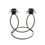Mega Candles -Two Taper Metal Candle Holder - Bronze