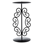 Mega Candles  -Pillar / Round Metal Candle Holder - Black