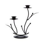 Mega Candles - Two Taper Leaf Metal Candle Holder - Black