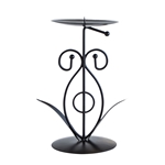 Mega Candles- Two Taper Leaf Metal Candle Holder - Black
