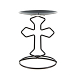 Mega Candles - Religious Cross Metal Candle Holder - Black