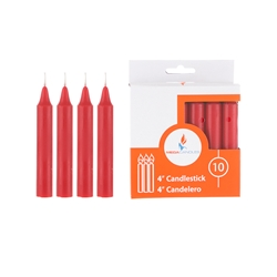 "Mega Candles - 10 pcs 4"" Unscented Household Candle - Red"