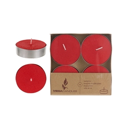 Mega Candles - 4 pcs Unscented Mega Tea Light Candle in Brown Box - Red