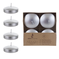 "Mega Candles - 4 pcs 3"" Unscented Floating Candles - Silver"