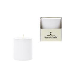 "Mega Candles - 3"" x 3"" Scented Ribbed Pillar Candle in Box - White"