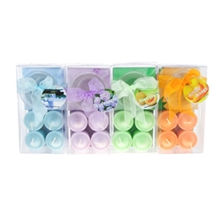Mega Candles -4 pcs Scented Votive Candle with Glass Holder in Clear Box - Asst