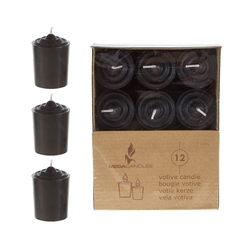 Mega Candles - 12 pcs 15 Hours Unscented Votive Candle in Brown Box - Black