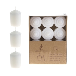 Mega Candles -12 pcs 15 Hours Unscented Votive Candle in Brown Box - White