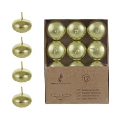 "Mega Candles - 12 pcs 1.5"" Unscented Floating Disc Candle in Brown Box - Gold"