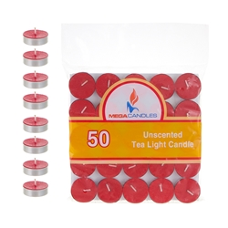 Mega Candles - 50 pcs Unscented Tea Light Candle in Bag - Red