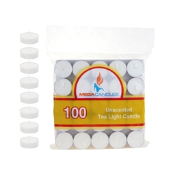 Mega Candles - 100 pcs Unscented Tea Light Candle in Bag - White