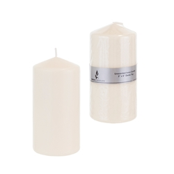 "Mega Candles - 3"" x 6"" Unscented Domed Top Press Pillar Candle in Shrink Wrap - Ivory"