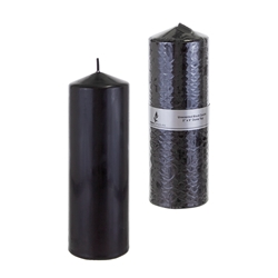 "Mega Candles - 3"" x 9"" Unscented Domed Top Press Pillar Candle in Shrink Wrap - Black"